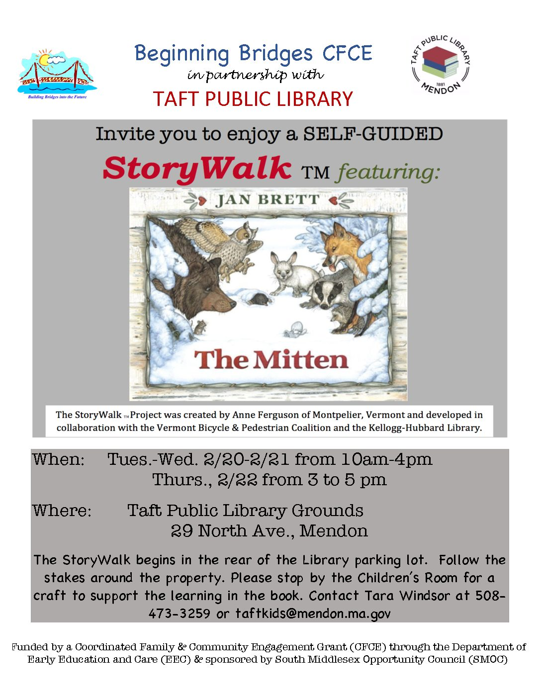 THE MITTEN StoryWalk Click on link for the flyer.